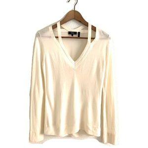 Theory Double Neck Trim Sweater Refine Merino Wool